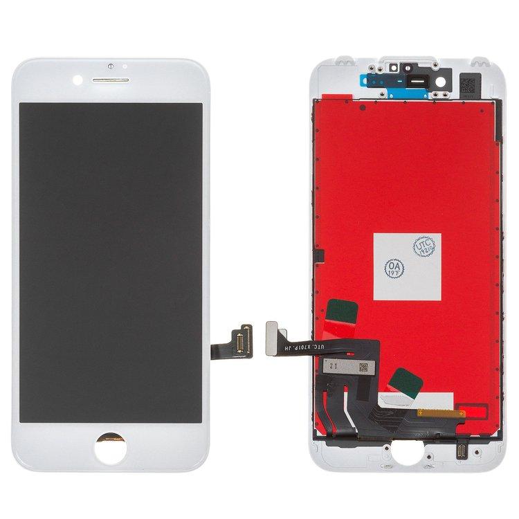 Дисплей для iPhone 7, білий, із сенсорним екраном, з рамкою, Копія